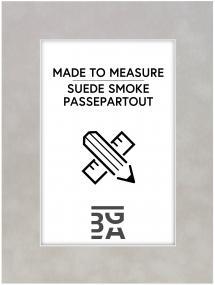 Passepartout Suede Smoke - Maßanfertigung (Weißer Kern)