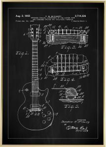 Patentzeichnung - E-Gitarre I - Schwarz Poster