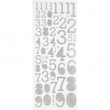 Focus Glitter Stickers Silber Numbers