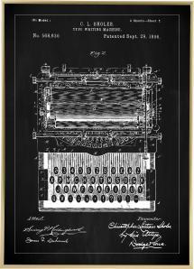 Patentzeichnung - Schreibmaschine - Schwarz Poster