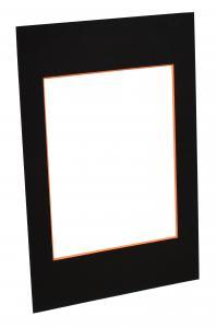 Passepartout Schwarz (orangefarbener Kern) - Maßgefertigt