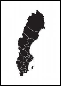 Schwedenkarte Schwarz Poster