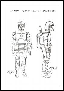 Patentzeichnung - Star Wars - Boba Fett - Weiß Poster