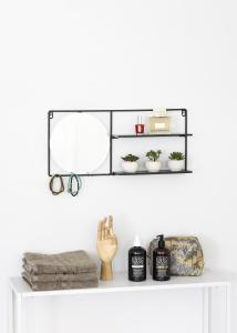 KAILA Runder Spiegel mit Ablage - Schwarz 55x25 cm