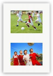 Collage-Passepartout Weiß 2 Bilder - Maßanfertigung (Weißer Kern)