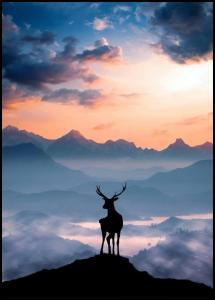 Heavenly Blue Deer Poster