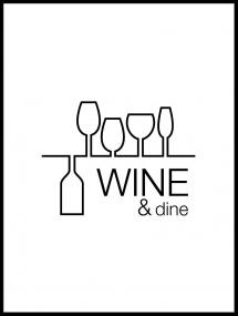 Wine & dine - White Poster