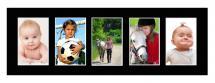 Passepartout Schwarz 20x60 cm - Collage 5 Bilder (9x14 cm)