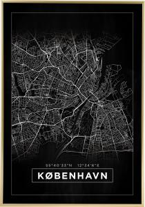 Map - København - Black Poster