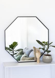KAILA Spiegel Octagon Schwarz 70 cm Ø
