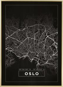 Map - Oslo - Black Poster