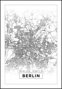 Map - Berlin - White Poster