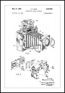 Patent Print - Photographic Camera - White Poster