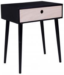 Nachttisch, Ablagetisch Parma 32x45 cm - Schwarz/Holz