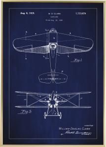 Patentzeichnung - Flugzeug - Blau Poster