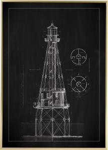 Schiefertafel - Leuchtturm - Ship Shoal Lighthouse Poster
