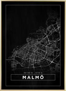 Map - Malmö - Black Poster