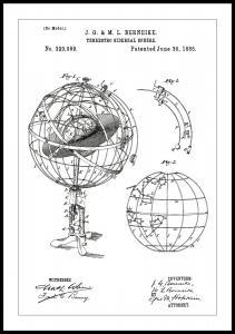 Patentzeichnung - Astronomisches Modell - Weiß Poster