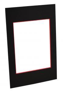 Passepartout Schwarz (roter Kern) - Maßgefertigt