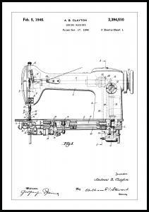 Patentzeichnung - Nähmaschine I Poster