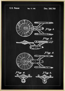 Patentzeichnung - Star Trek - USS Enterprise - Schwarz Poster