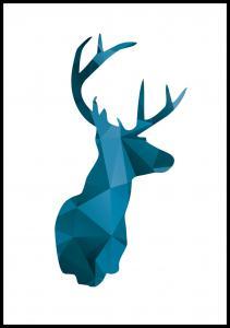 Deer - Blue Poster