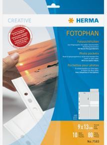 Herma Fototaschen 9x13 cm vertikal - 10er-Pack Weiß