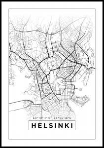 Map - Helsinki - White Poster