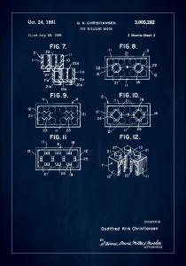 Patent Print - Lego Block II - Blue Poster
