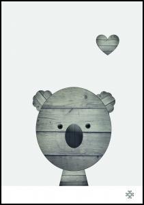 Wood koala Poster