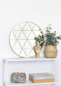 KAILA Runder Spiegel Triangles - Gold 55 cm Ø