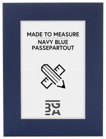 Passepartout Marineblau - Maßgefertigt (weißer Kern)