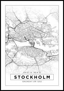 Map - Stockholm - White Poster