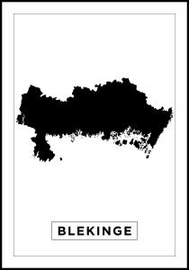 Map - Blekinge - White Poster