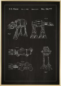 Patentzeichnung - Star Wars - Walker - Schwarz Poster