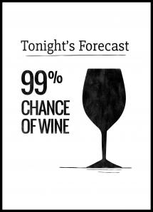 Tonights Forecast 99% Chance of Wine Poster