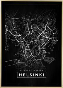 Map - Helsinki - Black Poster