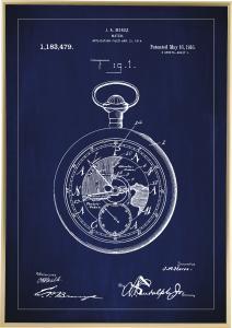 Patentzeichnung - Taschenuhr - Blau Poster