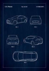 Patent Print - Tesla - Blue Poster