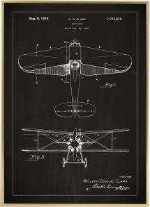 Patentzeichnung - Flugzeug - Schwarz Poster