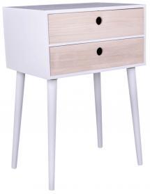 Nachtkommode, Konsolentisch Rimini 32x45 cm - Weiß/Holz