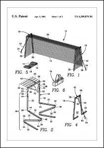 Patent Print - Soccer Goal - White Poster