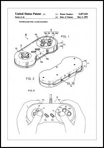 Patent Print - Game Controller I - White Poster