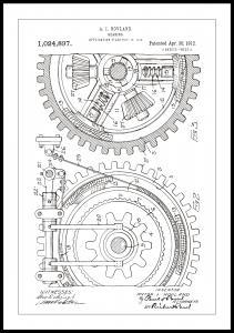 Patentzeichnung - Zahnrad - Weiß Poster