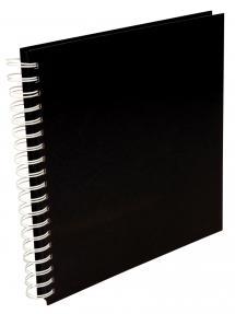 Quadratisches Spiralfotoalbum Schwarz -25x25 cm (80 schwarze Seiten)