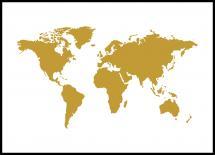Weltkarte Gold Poster