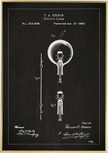 Patentzeichnung - Glühbirne B - Schwarz Poster