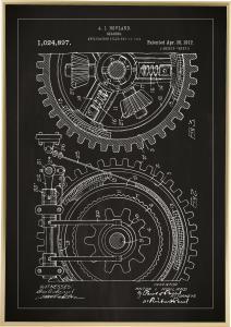 Patentzeichnung - Zahnrad - Schwarz Poster