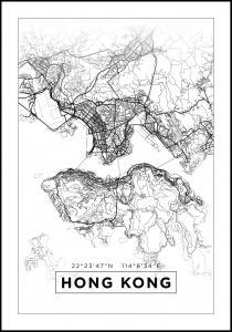 Map - Hong Kong - White Poster