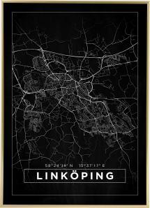 Map - Linköping - Black Poster